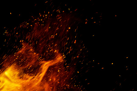 Photo pour fire flames with sparks on a black background - image libre de droit