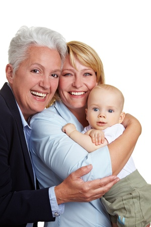 Family baby portrait with happy mother and grandmother