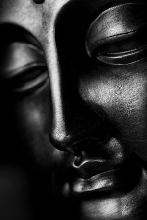 Foto de Buddha Face - Black and White - Imagen libre de derechos