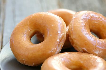 Photo for Glazed donuts background image. Macro with shallow dof. - Royalty Free Image