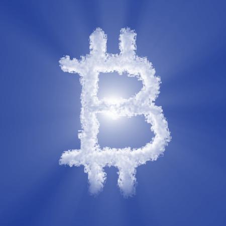 Photo pour Bitcoin cloud sign with volume light on blue sky and sun. 3d illustration - image libre de droit