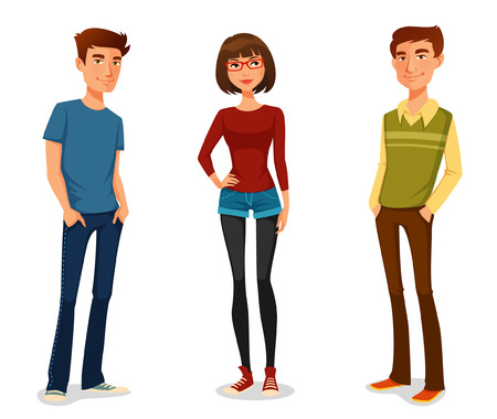Illustration pour group of young people in casual clothes - image libre de droit