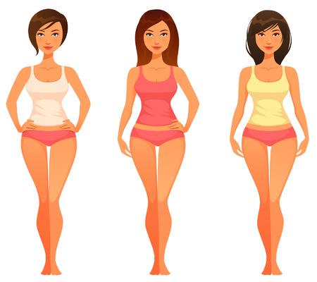 Ilustración de cartoon illustration of a young woman with healthy slim body - Imagen libre de derechos