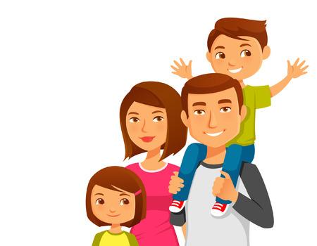 Photo pour happy cartoon family - image libre de droit