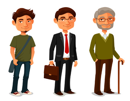 Illustration pour Cartoon characters showing age progress - image libre de droit
