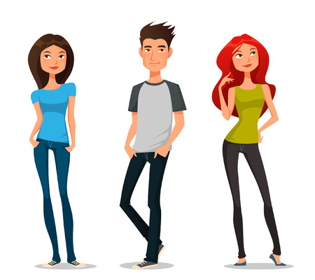 Illustrazione per Cute cartoon illustration of young people - Immagini Royalty Free