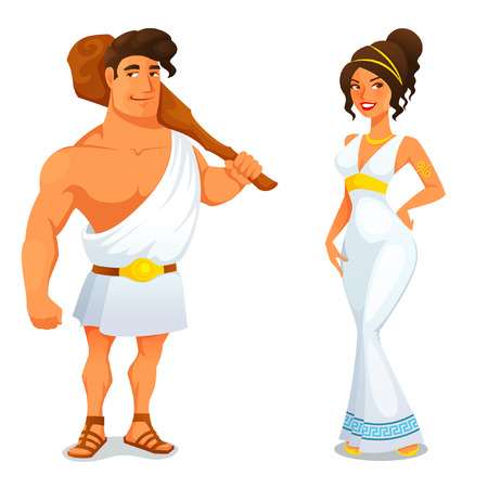 Illustration for Ancient hero Hercules and a beautiful Greek girl - Royalty Free Image