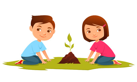 Illustration for Cute cartoon kids growing a plant - Royalty Free Image