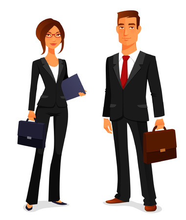 Illustrazione per young man and woman in elegant business suit - Immagini Royalty Free