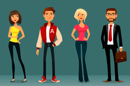 Ilustración de cute cartoon illustration of people in various outfits - Imagen libre de derechos