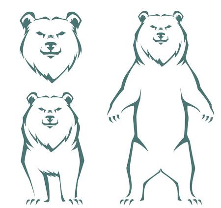 Illustration pour simple stylized line illustration of a bear - image libre de droit