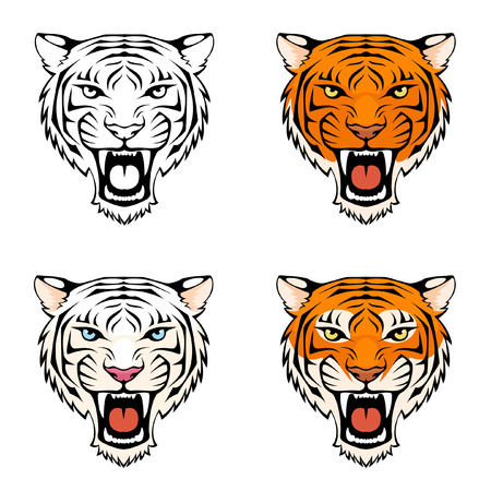 line illustration of a roaring tiger head