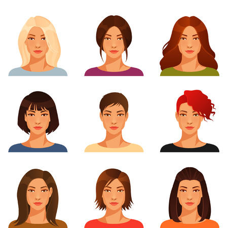 Illustrazione per young woman with various hairstyle and color - Immagini Royalty Free