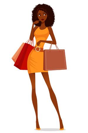 Ilustración de beautiful African American woman shopping - Imagen libre de derechos