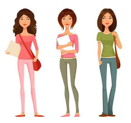 Illustration pour cute cartoon illustration of teen or tween student girls - image libre de droit