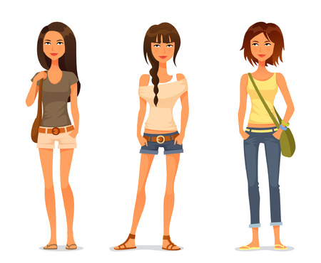Ilustración de cute teenage girls in spring or summer fashion clothes - Imagen libre de derechos