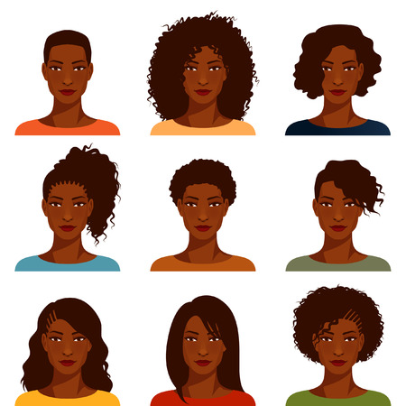 Illustration pour young women with various hairstyles - image libre de droit