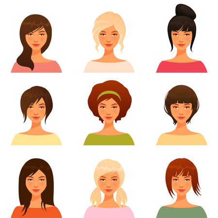 Illustration for cute illustrations of beautiful young girls with various hair style - Royalty Free Image