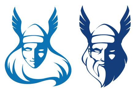 Illustration pour line illustrations of characters from Scandinavian mythology - image libre de droit