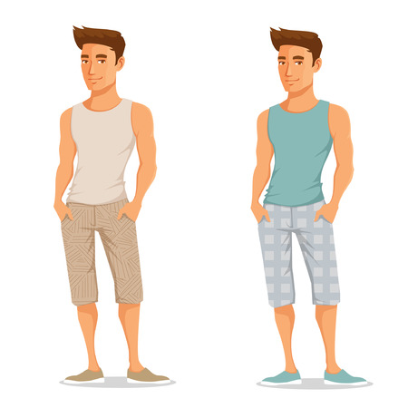 Illustration pour handsome young guy in casual summer outfit - image libre de droit