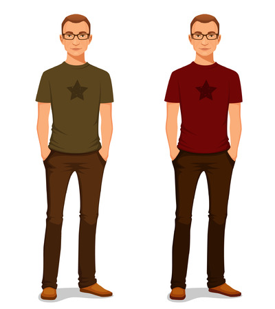Illustrazione per handsome young guy in casual clothes with glasses - Immagini Royalty Free