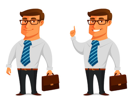 Illustration for funny cartoon businessman with briefcase - Royalty Free Image
