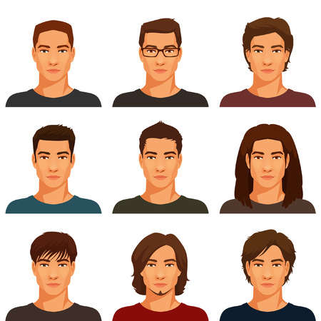 Ilustración de young handsome men with various hairstyle - Imagen libre de derechos