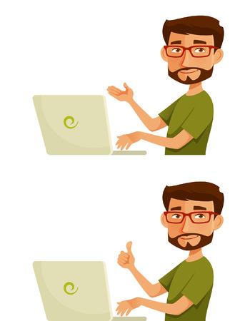 Illustration pour cartoon character of a young guy with laptop - image libre de droit