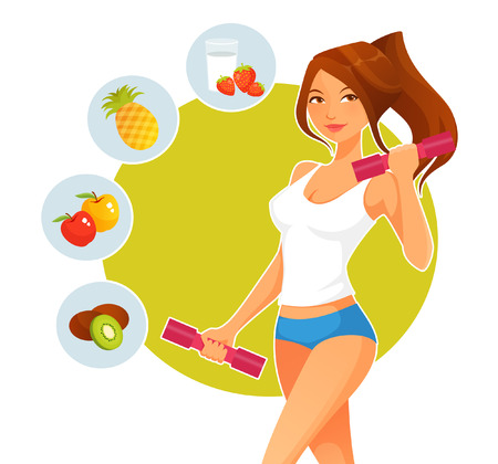 Illustration for sporty cartoon girl with dumbbells and variety of healthy fruits - Royalty Free Image