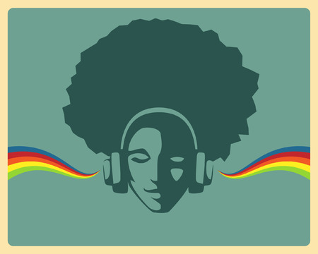 Illustration pour beautiful girl listening to music from headphones - image libre de droit