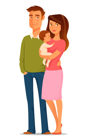 Photo pour cartoon illustration of a young happy family - image libre de droit