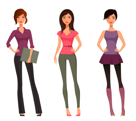 Ilustración de cute cartoon girls in various outfits - Imagen libre de derechos
