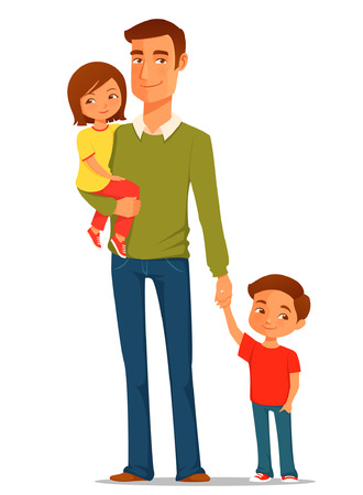 Ilustración de young father with his cute children - Imagen libre de derechos