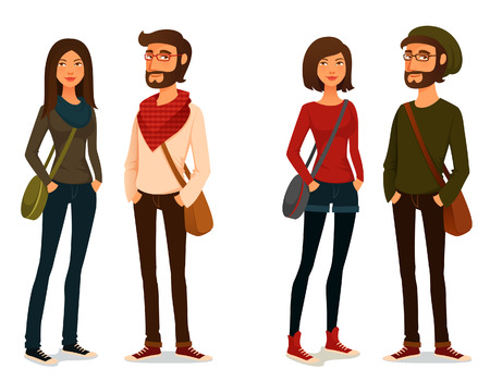 Illustration pour cartoon illustration of young people in hipster fashion - image libre de droit