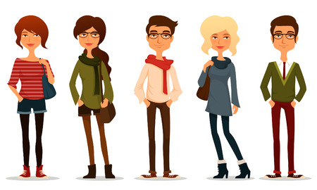Illustration pour funny cartoon illustration of young people - image libre de droit