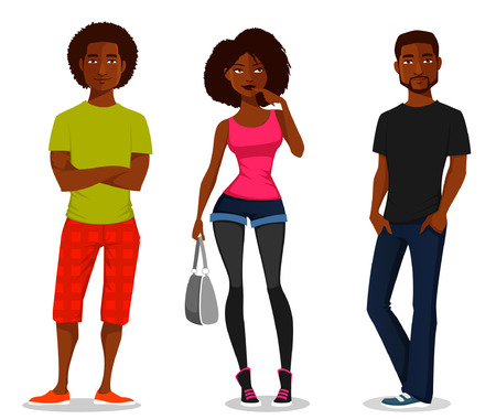 Illustration pour cartoon illustration of young people - image libre de droit