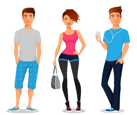 Illustrazione per cartoon illustration of young people - Immagini Royalty Free