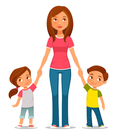 Ilustración de cute cartoon illustration of mother with two kids - Imagen libre de derechos