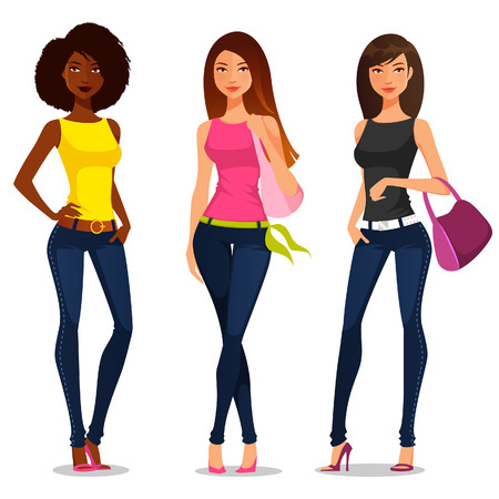 Illustration pour young girls in casual summer fashion - image libre de droit