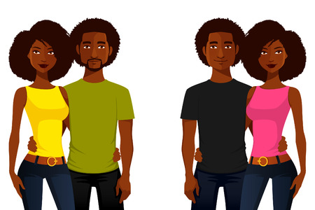 Illustration pour young African American people in casual clothes - image libre de droit