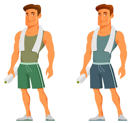 Photo pour cartoon guy in sportswear, with towel and water bottle - image libre de droit