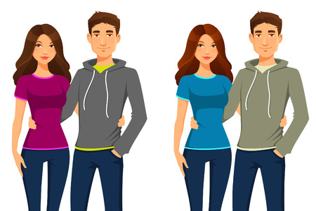 Illustrazione per young happy couple in casual clothes - Immagini Royalty Free