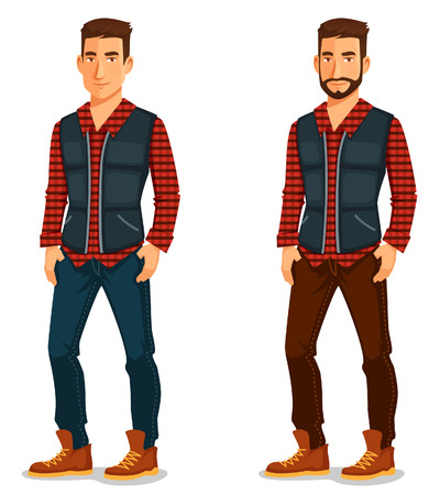 Illustration for cartoon illustration of a handsome young man in casual outfit - Royalty Free Image
