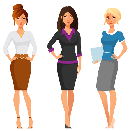Ilustración de attractive young women in elegant office clothes - Imagen libre de derechos