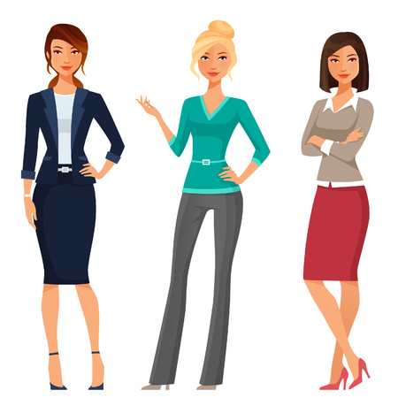 Illustrazione per attractive young women in elegant office clothes - Immagini Royalty Free