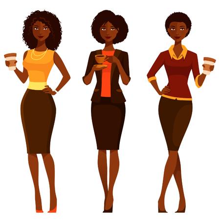 Illustrazione per elegant African American businesswomen with coffee - Immagini Royalty Free