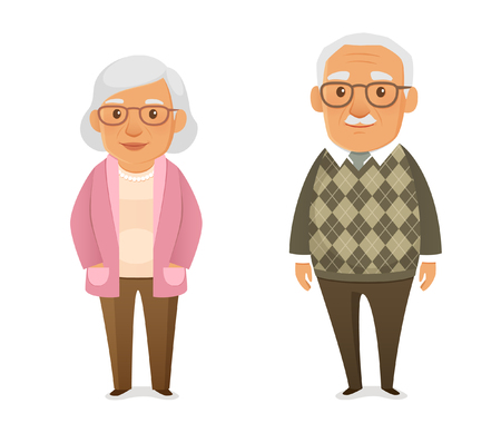 Illustration for funny cartoon elderly couple - Royalty Free Image