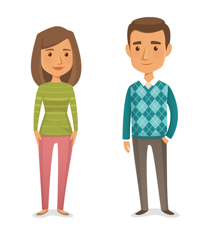 Illustrazione per cute cartoon couple of young people - Immagini Royalty Free