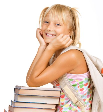 Education Concept. Happy School girl with books