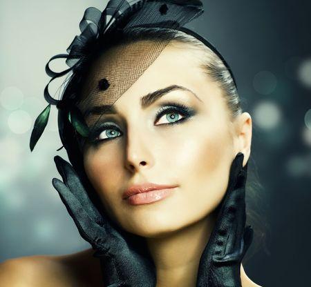 Woman's Face.Vintage Makeup.Retro Style